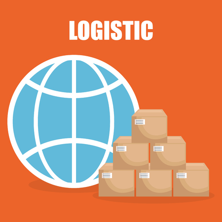 logistic service with boxes vector illustration design Illustration