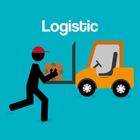 worker logistic service silhouette vector illustration design