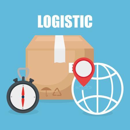 logistic service with boxes vector illustration design Ilustração
