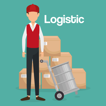 worker logistic service avatar vector illustration design