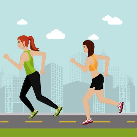 women running in the landscape vector illustration design Illustration
