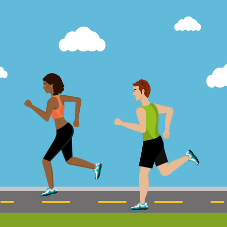 couple running in the landscape vector illustration design Illustration