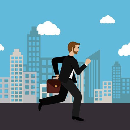 businessman running in the cityscape vector illustration design  イラスト・ベクター素材