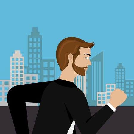 businessman running in the cityscape vector illustration design  イラスト・ベクター素材