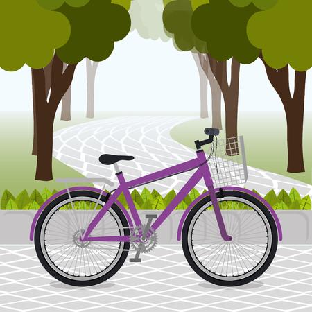 bicycle in the park scene vector illustration design