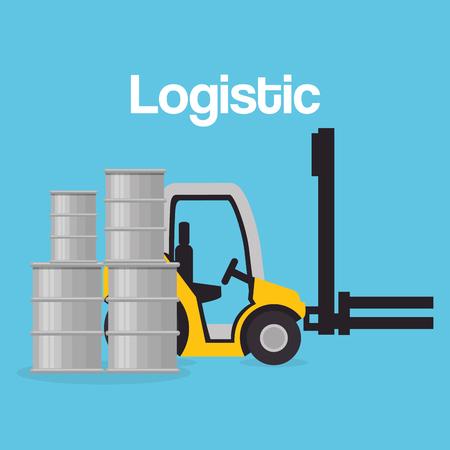 forklift vehicle with barrels logistic services vector illustration design Illustration