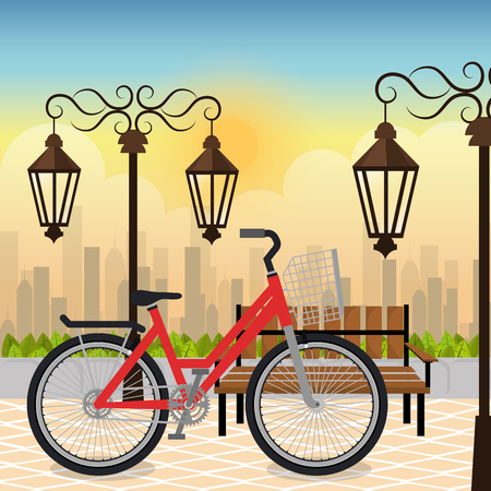 bicycle in the park scene vector illustration design