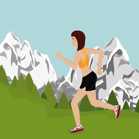 woman running in the landscape vector illustration design