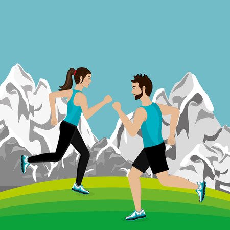 couple running in the landscape vector illustration design Çizim