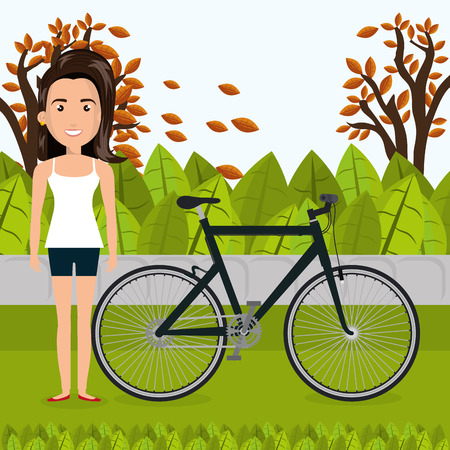 woman with bicycle in the landscape vector illustration design