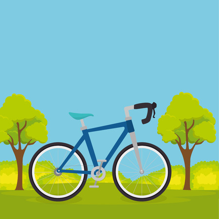 bicycle in the landscape vector illustration design