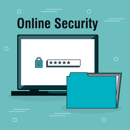 laptop with online security icons vector illustration design