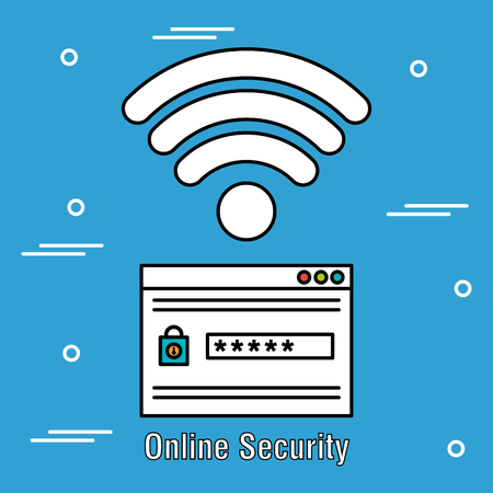 online security acount password and wifi connection vector illustration design