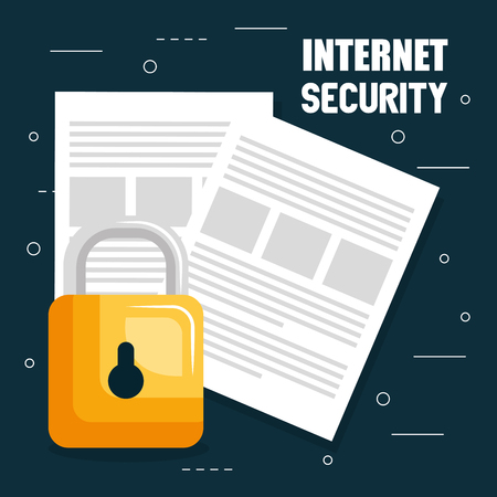 internet security padlock with documents vector illustration design