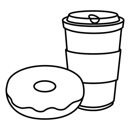 coffee cup and plastic container vector illustration design 일러스트
