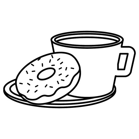 coffee cup with sweet donuts vector illustration design Stock Illustratie