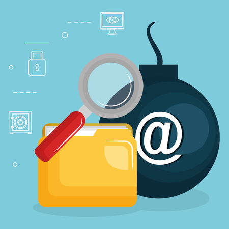 folder document with internet security icons vector illustration design