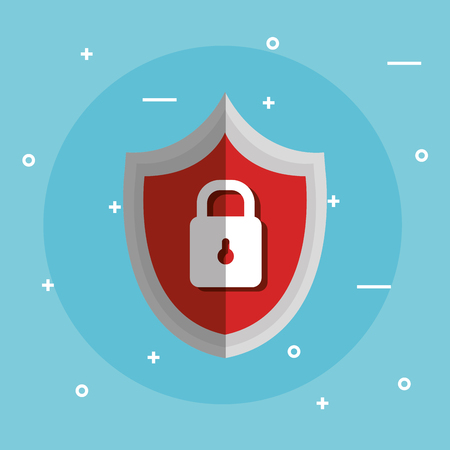 internet security shield with padlock vector illustration design