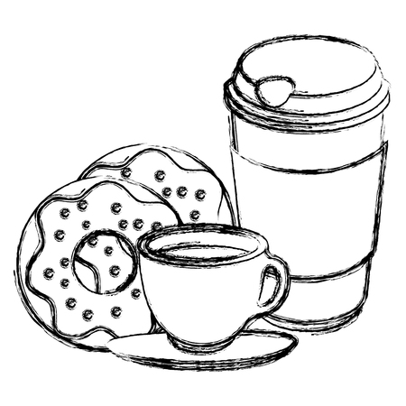 coffee cup and plastic container with sweet donuts vector illustration design Illustration