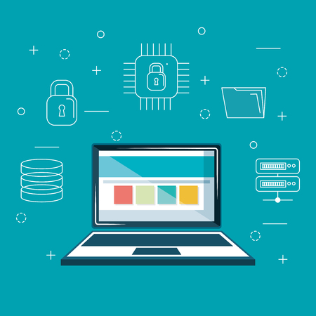 laptop with internet security icons vector illustration design Illustration