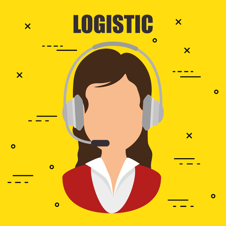 woman with headset logistic service vector illustration design Illustration