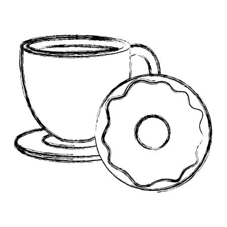 coffee cup with sweet donuts vector illustration design Ilustração