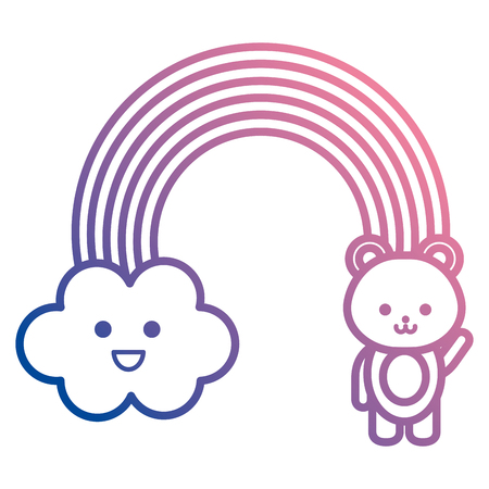 cute rainbow with cloud and teddy characters vector illustration design Ilustracja