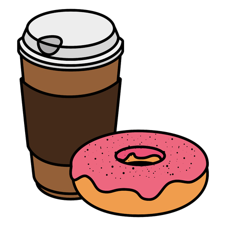 coffee in plastic container with sweet donut vector illustration design Stock Illustratie