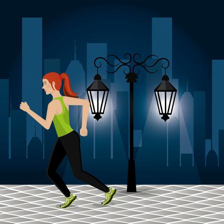 women running in the cityscape vector illustration design