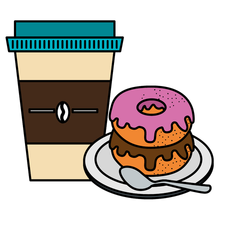 coffee in plastic container with sweet donut vector illustration design Ilustração