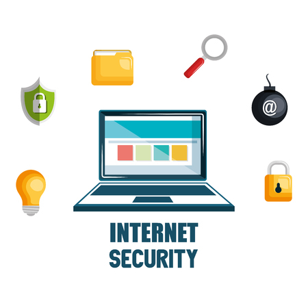 laptop with internet security icons vector illustration design Stock Illustratie