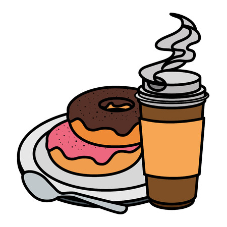 coffee in plastic container with sweet donut vector illustration design Illustration