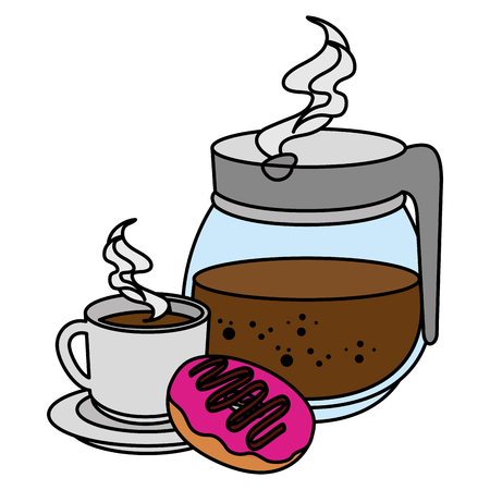 coffee cup and teacup with sweet donuts vector illustration design