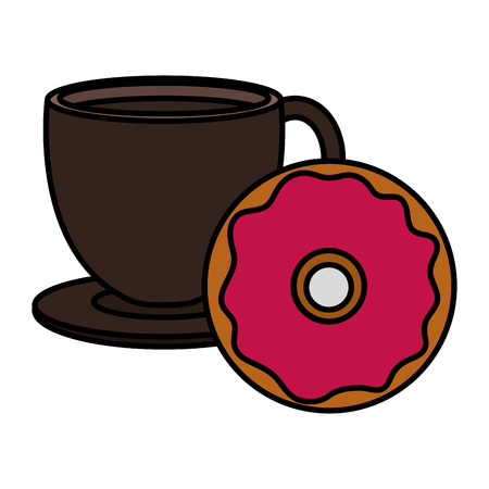 coffee cup with sweet donuts vector illustration design 일러스트
