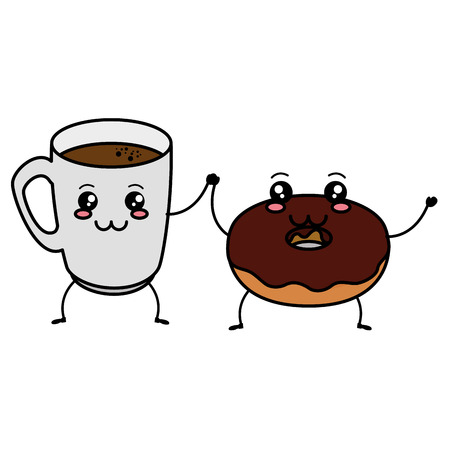 coffee cup with sweet donuts characters vector illustration design