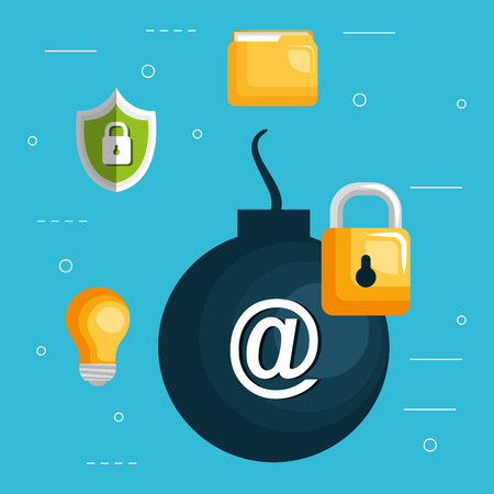 bomb explosive with internet security icons vector illustration design