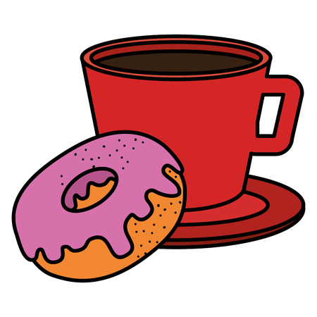 coffee cup with sweet donuts vector illustration design Ilustração