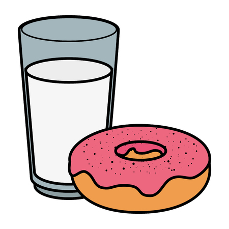 fresh milk glass and sweet donut vector illustration design