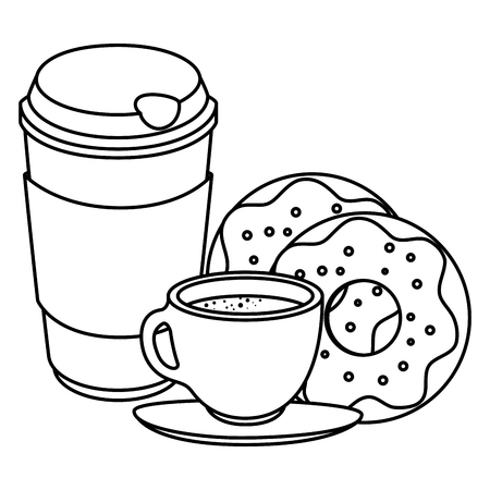 coffee cup and plastic container with sweet donuts vector illustration design Ilustração