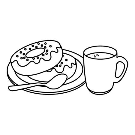 coffee cup with sweet donuts vector illustration design Illusztráció