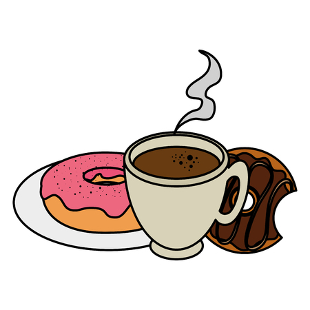 coffee cup with sweet donuts vector illustration design Illustration