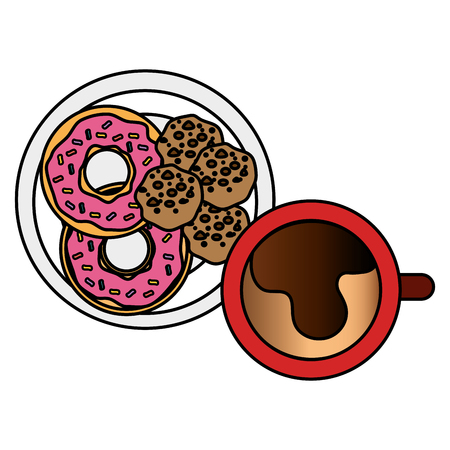 coffee cup with sweet donuts vector illustration design 向量圖像