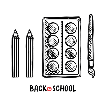 paint pallette and brush school supplies vector illustration design