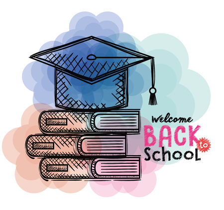 pile books and hat graduation back to school drawings vector illustration Stock Vector - 102631040