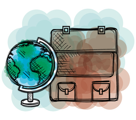 planet and bag school supply drawing vector illustration design