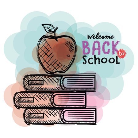 pile books and apple back to school drawings vector illustration design