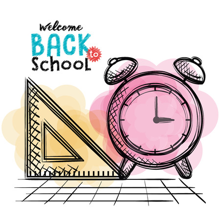 alarm clock and rule back to school drawing vector illustration design