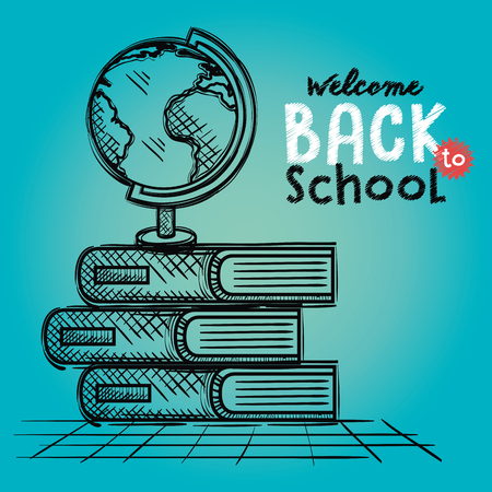 planet and books school supply drawing vector illustration design