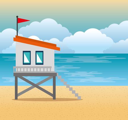 beach with lifeguard tower scene vector illustration design Archivio Fotografico - 102631077