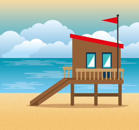 beach with lifeguard tower scene vector illustration design 向量圖像